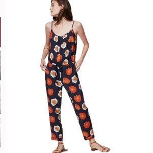 Loft Blue Floral Jumpsuit Size XS